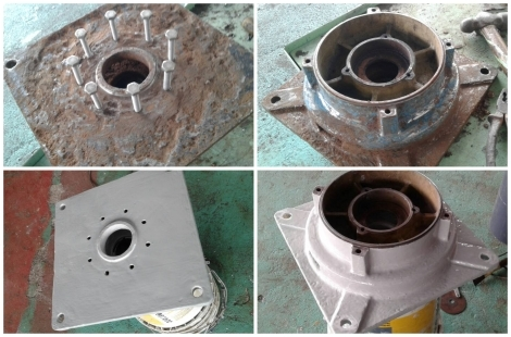 Rebuild Surface c/w Apply Loctite Chemical Resistant Coating for Circulation Pump Base