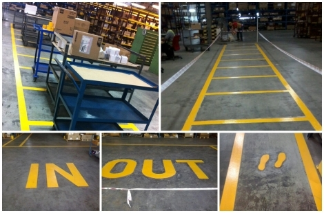 Safety Line Floor Coating for Warehouse
