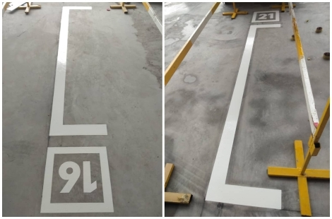 White Line with Numeric Floor Coating